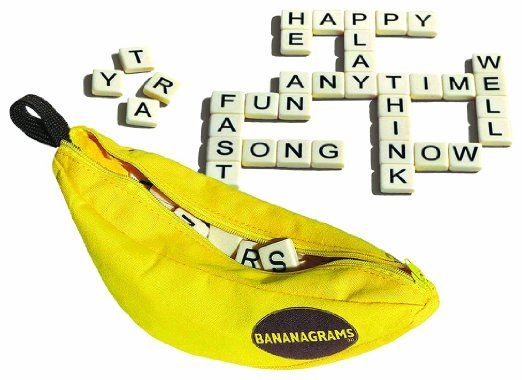 Amazon.com: Bananagrams: Toys & Games Pouch is 100% cotton canvas: durable and washable. The anagram game that will drive you bananas Players race against each other to build crossword grids For 1 to 8 players Great for travel Recommended for 7 years and up