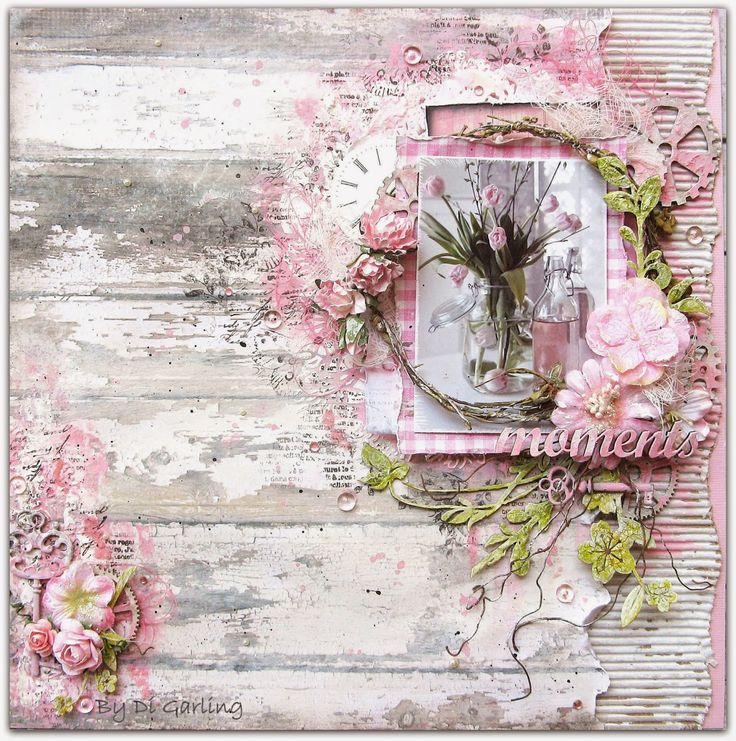 Scrap Around The World: January 2015 Challenge 21 A Shabby Chic, Vintage Mood Board by Karita Vainio