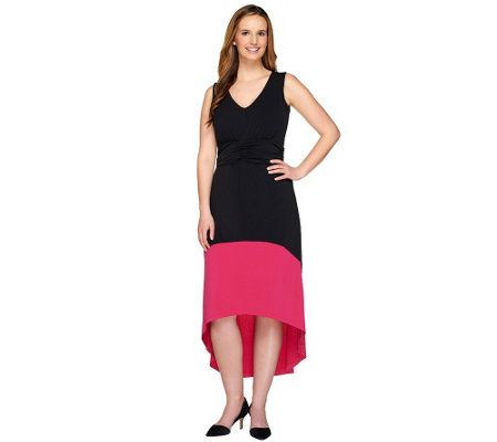 Kelly by Clinton Kelly Regular Hi-Low Hem Color Block Maxi Dress