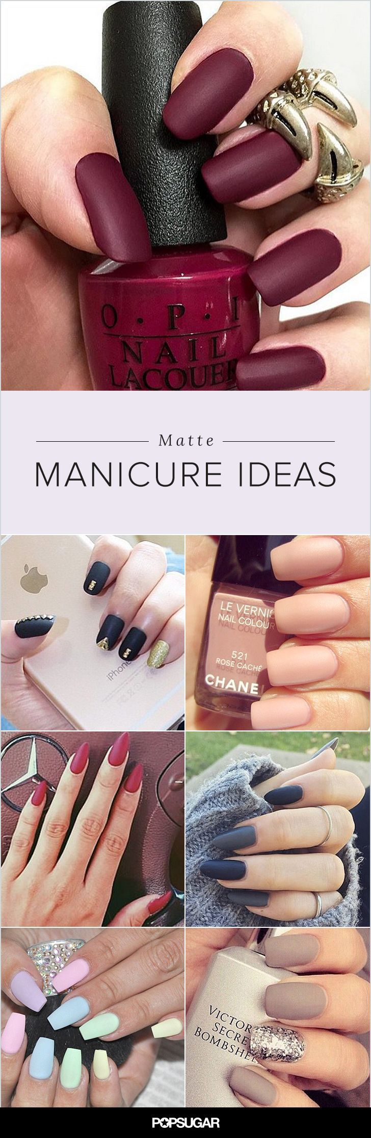 While you may have thought matte manicures hit their peak in 2010, the nail pros of Instagram are proving otherwise. Patterns, accents, and different nail shapes prove that this fun lacquer finish is anything but flat. Get inspired by these magnificent manicures, and then learn how to make your own matte lacquer. Glossy nails are so last season!