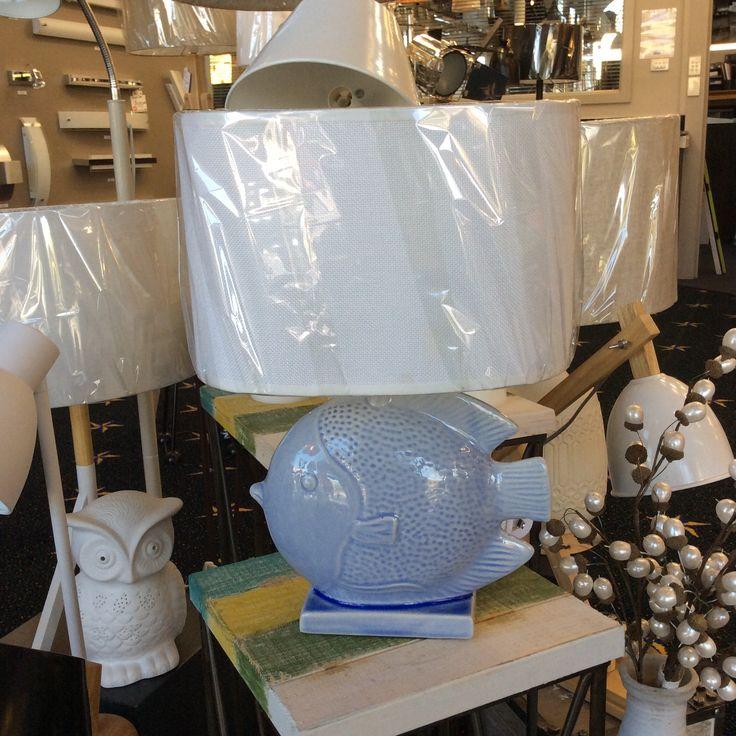 Pale blue ceramic fish table lamp