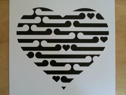 Black and White heart print