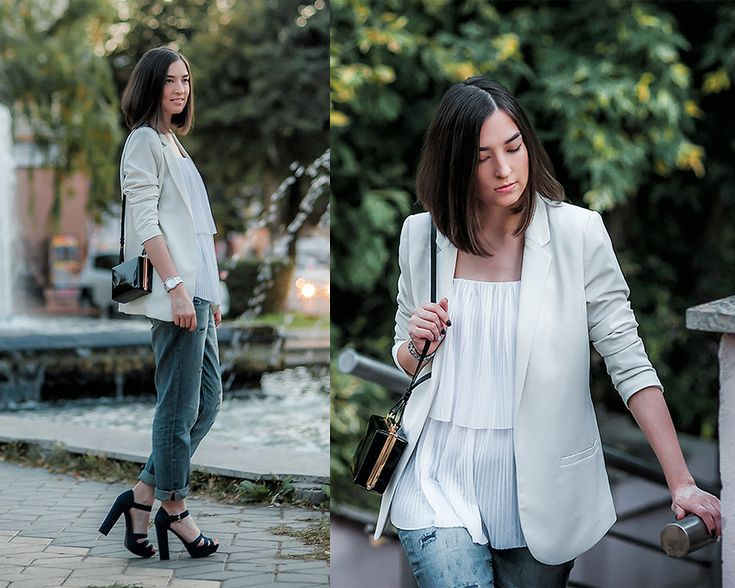 boyfriend jeans, white blazer, plated top, box bag, look, outfit, street style, russia