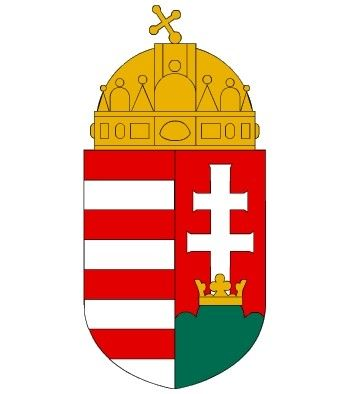 This is the Coat of Arms of Hungary.  On the top one can find the Holy Crown,and the shield below can be divided into 2 parts.  - The right is showing the double cross sitting in the crown of 3 mountains (representing the 3 mountain ranges) - The left is showing the so called Arpad stripes. Each silver line represents one of 4 rivers of Hungary.