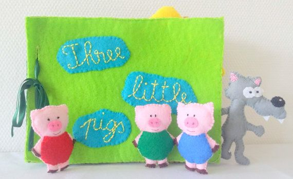 Quiet Book Three Little Pigs Felt Story Book by EmaDecorations