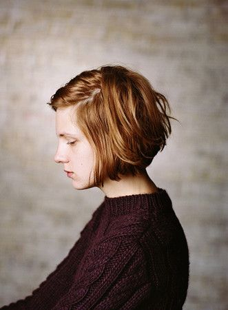Fashion Portraiture Short Hair Bob Messy Brown Cable-knit Sweater Textured background Profile Woman Eyes closed