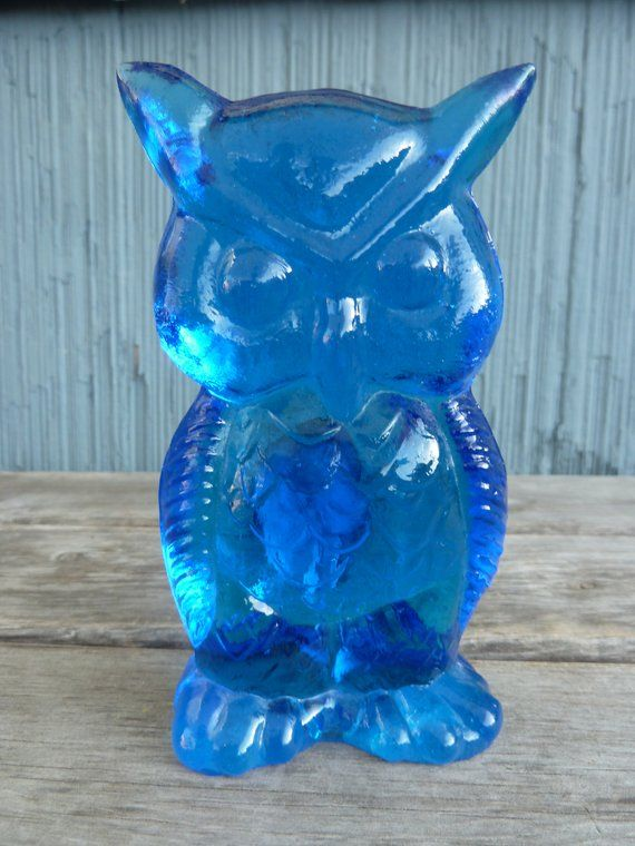Kanawha Blue Glass Owl Figurine Vintage Hand Crafted Glassware From Dunbar West Virginia Blue Glass Vintage Dishes Kanawha