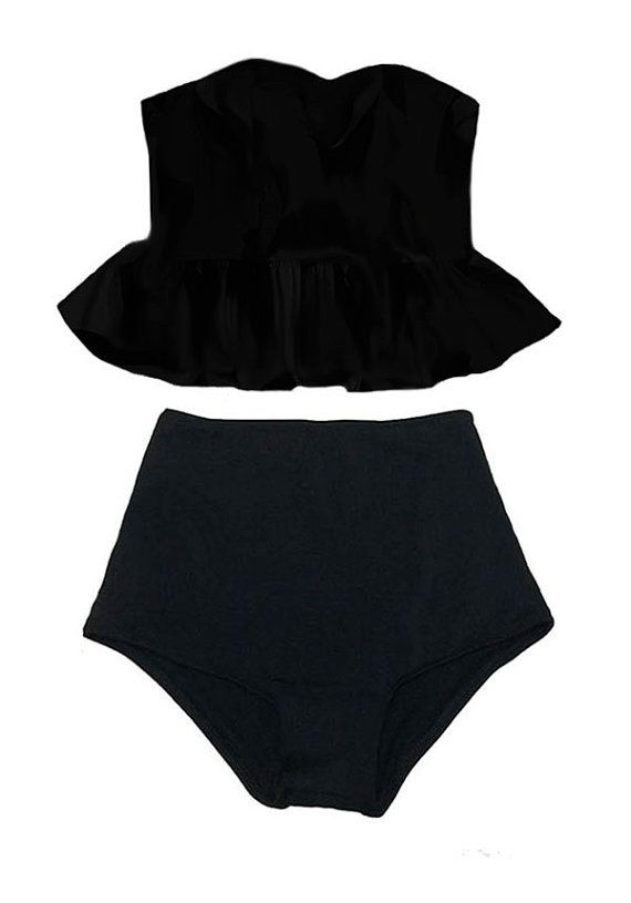 Black Long Top and Black High waisted waist Bottom by venderstore, $39.99