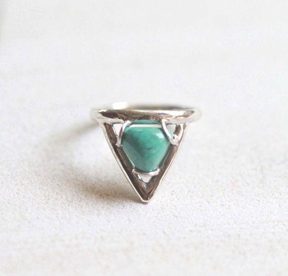 Natural Turquoise Ring, Sterling Silver Ring, Midi Ring, Chevron Ring, Aztec Ring, Cute Rings, Small Ring, Boho Rings, Don Biu