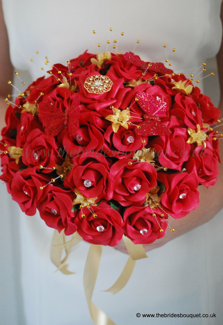 10 best images about red theme wedding on pinterest for Gold flowers for wedding bouquet