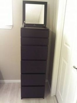Chest of drawers: Chest of 6 drawers mirror glass -- MALM