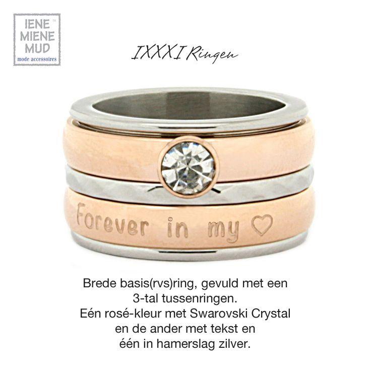 IXXXI jewelry ● De ringen van #IXXXI# Jewelry zijn anders dan anders. Vanuit staal (rvs) geproduceerd begint u met een smalle of brede basisring van 14,95 euro in de juiste ringmaat. Ook is de basisring in goud of rosé-kleur leverbaar, deze hebben een basisprijs van 17,50 euro. De ringmaten beginnen vanaf 16,5 tot maat 20. Deze basisring kuntu uitelkaar draaien voor uw keuze van de verschillendetussenringen.
