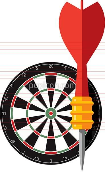 Dart And Dartboard Icon - Flat Color Series