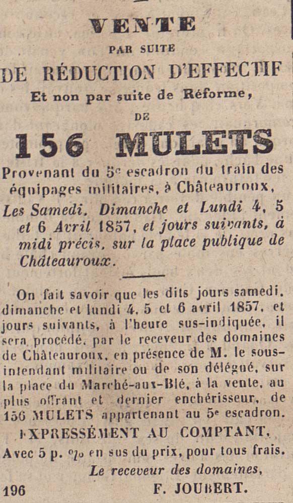 """Vente suite à réduction d'effectifs de 156 MULETS de l'équipage militaire. Paiement comptant, extrait du journal """"Le 20 décembre"""" , 1857 - Bfm Limoges  http://presse.bm-limoges.fr/"""