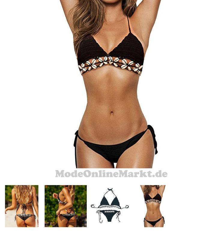 | #SUNNOW® #Damen #Bikini #Sets mit #Quaste #Strick #Häkeln #Muschel #Badeanzug #Schwimmanzug #Bademode #Strand #Bikini #Bra #G-String #(Einheitsgröße, #Schwarz)
