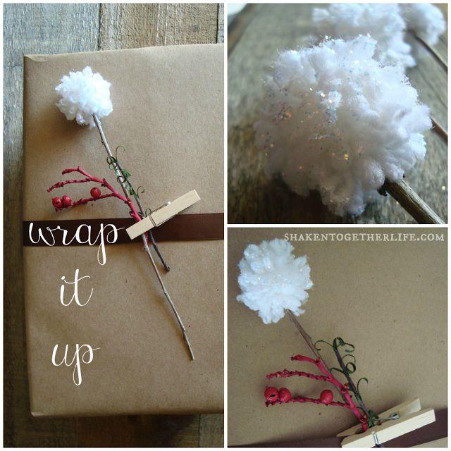 Snow Sprinkled Pom Pom Flowers