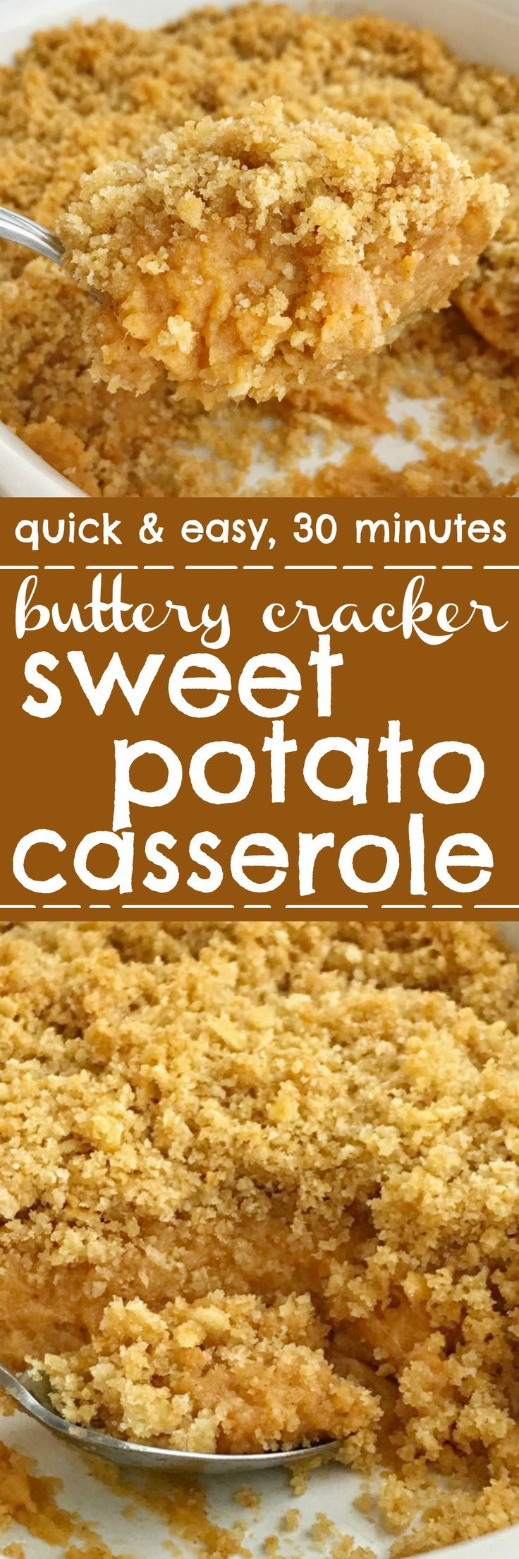 Buttery cracker sweet potato casserole can be on the dinner table in just 30 minutes! No boiling & peeling sweet potatoes. Sweet and creamy sweet potatoes topped with crunchy buttery cracker crumbs. This is such a fun twist to the classic casserole but so much easier. The perfect Thanksgiving side dish   www.togetherasfamily.com #sweetpotatocasserole #casserolerecipes #thanksgivingrecipes