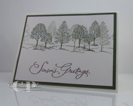 This card is easy to mass produce for Christmas Cards using Stampin' Up product including Lovely as a Tree Stamp Set http://www.catherinepooler.com/2011/11/mass-producing-christmas-cards-with-stampin-up-supplies/