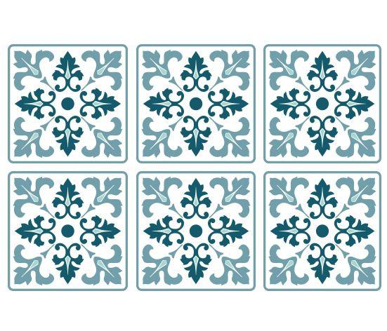 KAKELDEKOR Marockansk 4 blå/grön