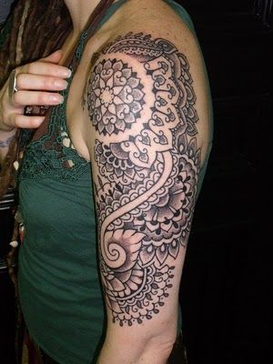 half sleeve tattoo images half sleeve tattoo designs for girls henna+tattoo. Image name: Henna inspired half-sleeve front view