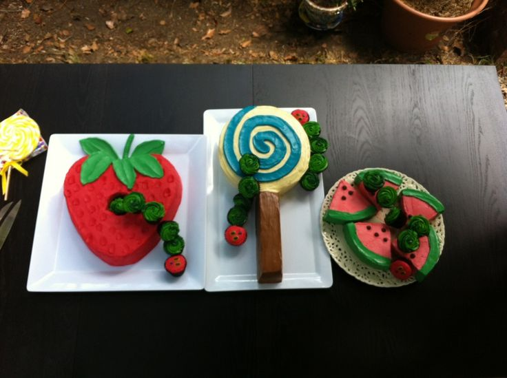 Archie's Very Hungry Caterpillar 1st Birthday Cakes. Strawberry Cake, Watermelon Cake and Lollipop Cake with Caterpillar Cupcakes