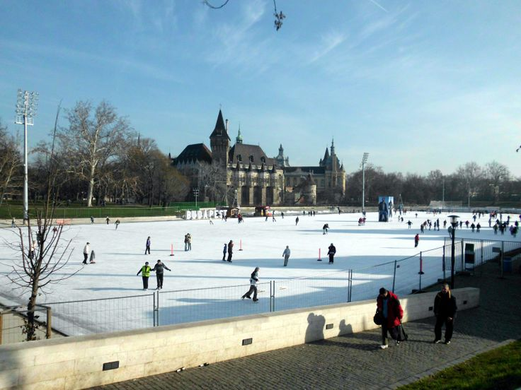 Városligeti Műjégpálya. Ice-skating rink in Városliget. It is said to be Europe's largest ice-skating rink. Vajdahunyad Castle in the background.
