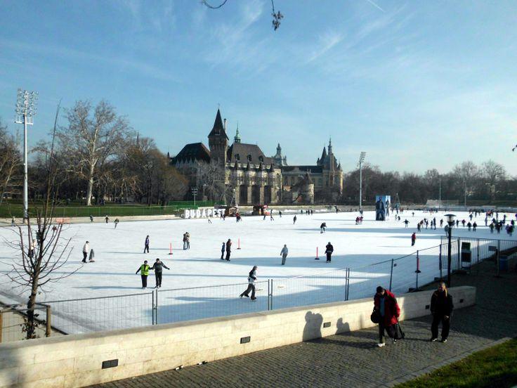 Városligeti Műjégpálya. Ice-skating rink in Városliget. It is said to be Europe's largest ice-skating rink. Vajdahunyad Castle in the background.