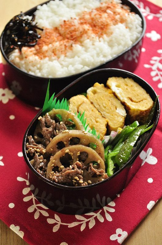 Japanese Bento with Simmered Beef & Lotus Root and Omelet