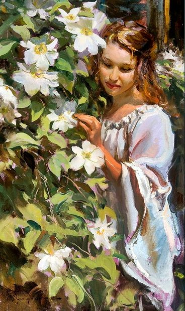 ⊰ Posing with Posies ⊱ paintings & illustrations of women & children with flowers - Daniel Gerhartz (1965-) : Sunlight on white
