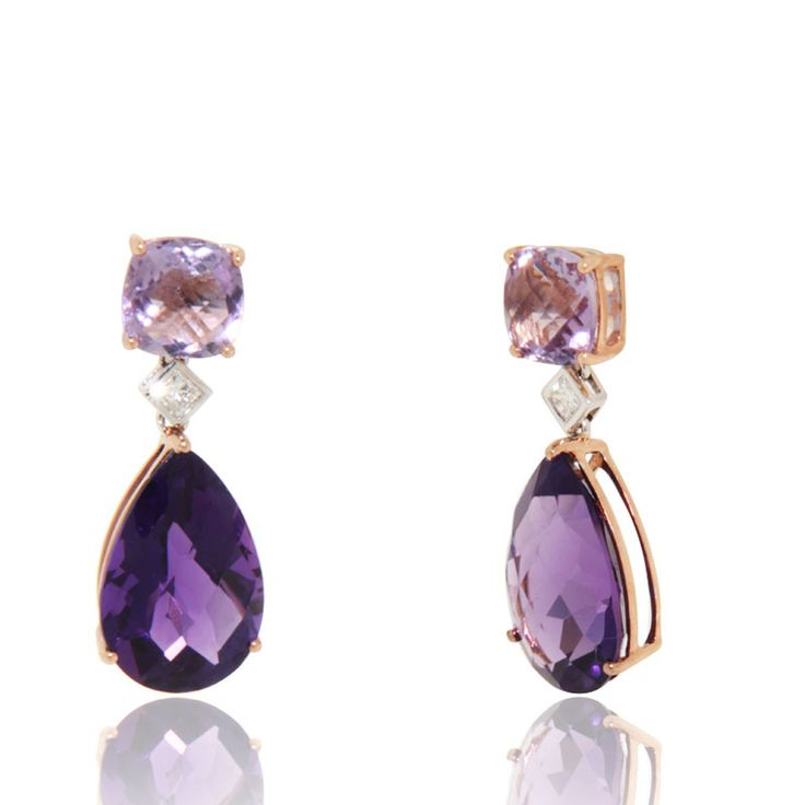 Supreme color Amethyst (12.25 cts) drops earrings with diamond (0.14 cts) accents in 18k rose gold