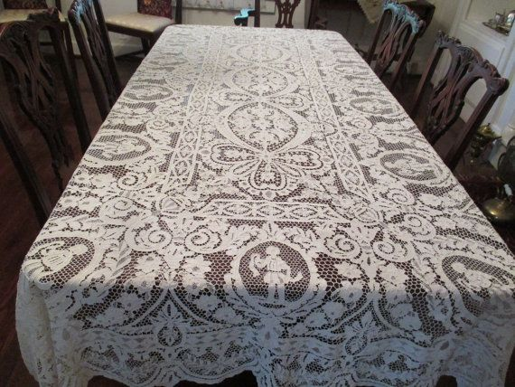 STUNNING Antique All Handmade Figural Italian Point De Venise Needle Lace  BANQUET Tablecloth Or Bedspread