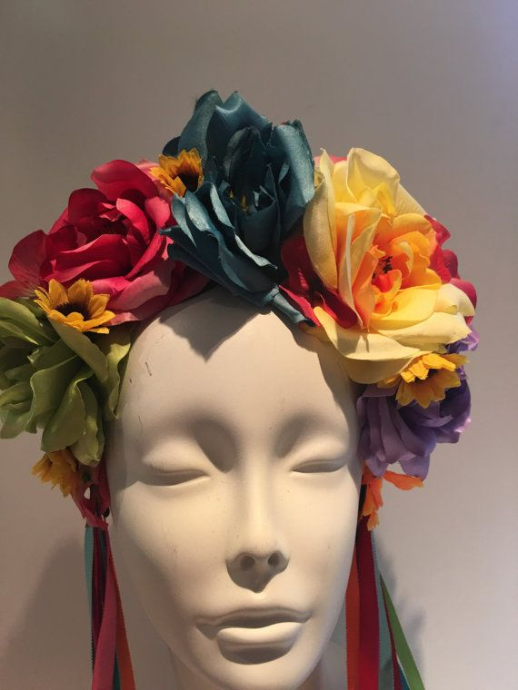 Rose Headband, Mexican headdress-Floral hair accessory, Bridal Headpiece, Red rose, Halloween Costume, Frieda. Hello, This 4 inch wide rose flower crown is on a I inch headband. Perfect of a music festival, party or Halloween costume. The five rose flowers are great quality and the