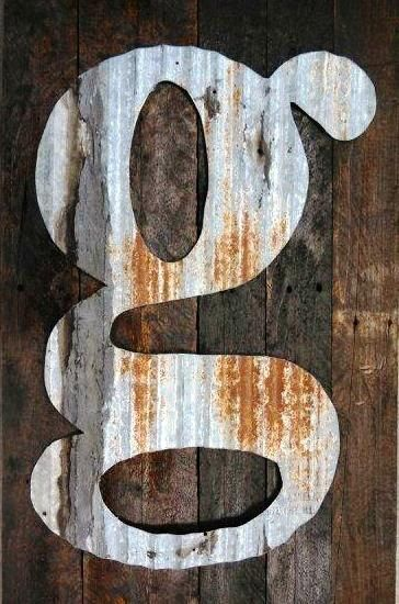 Nebraska barn tin letter on stained pallet wood. Each custom made-to-order. $85.