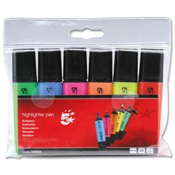 5 Star Office Highlighters Chisel Tip Line Orted Wallet Of 6 500925