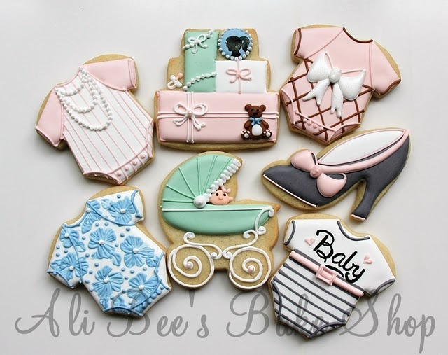 various baby themes: Babies, Vintage Barbie, Bees Baking, Ali Bees, Decor Cookies, Baking Shops, Baby Cookies, Barbie Baby, Baby Shower Cookies