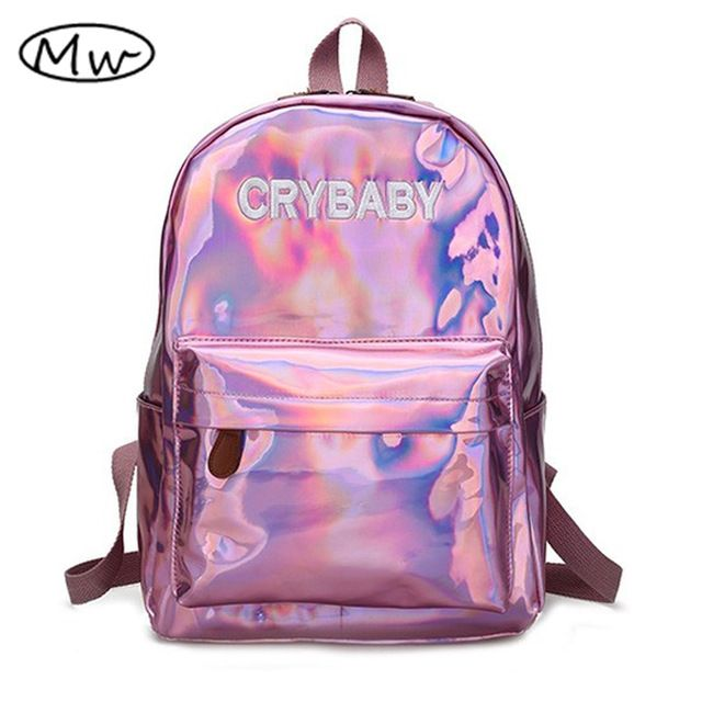 Today Sale  14.90, Buy Moon Wood Harajuku Embroidery Letters Crybaby  Hologram Laser Backpack Women Soft b0cfead4d9a