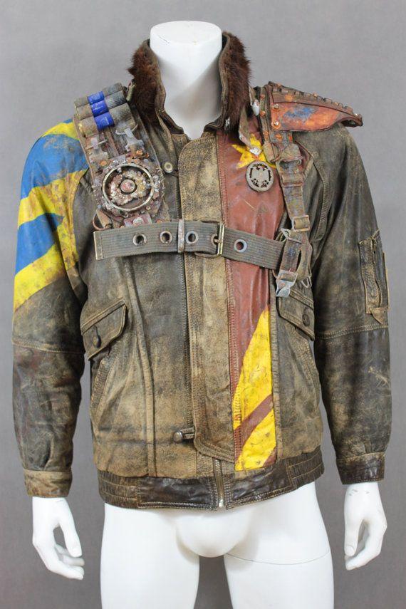 Men's Motorcycle Jacket - Post Apocalyptic Jacket - Wasted Pilot Jacket- Mad Max Style - Leather Jacket