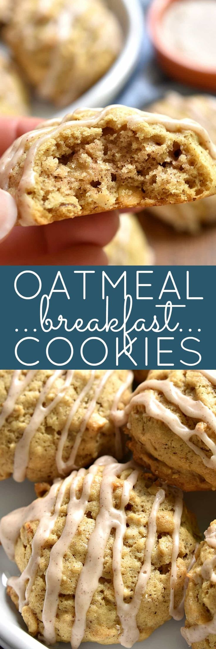 These Oatmeal Breakfast Cookies are packed with flavor and perfect for busy mornings! Topped with a sweet cinnamon glaze, they're every kid's dream….and just in time for back to school!