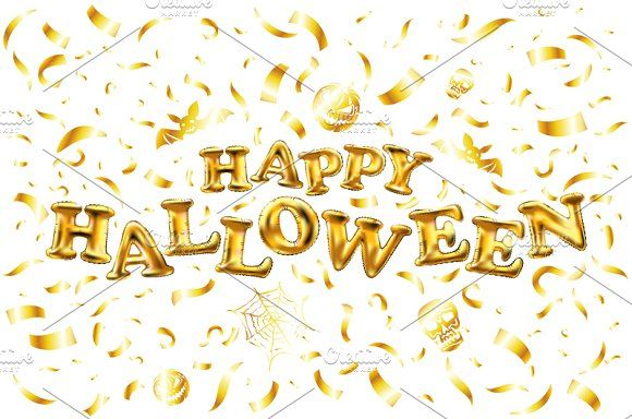 Happy Halloween gold glitter vector by Rommeo79 on @creativemarket