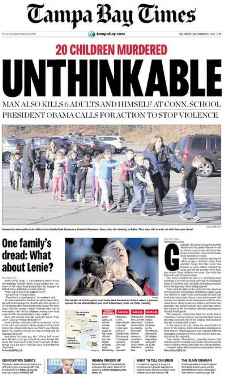 Tiroteo en Newtown, Connecticut - 14.12.12 (St. Petersburg Times - EEUU - 15.12.12).