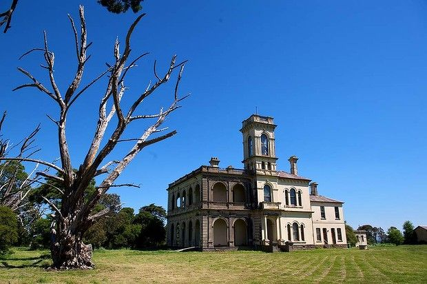 'Mintaro' a derelict 1882 mansion in Monegeetta near Romsey. The house has made a memorable backdrop in several TV series, inc: 'The Broken Shore', 'Dr Blake' and 'Glitch'. It was auctioned twice in 2012; the second buyers have begun its major restoration.