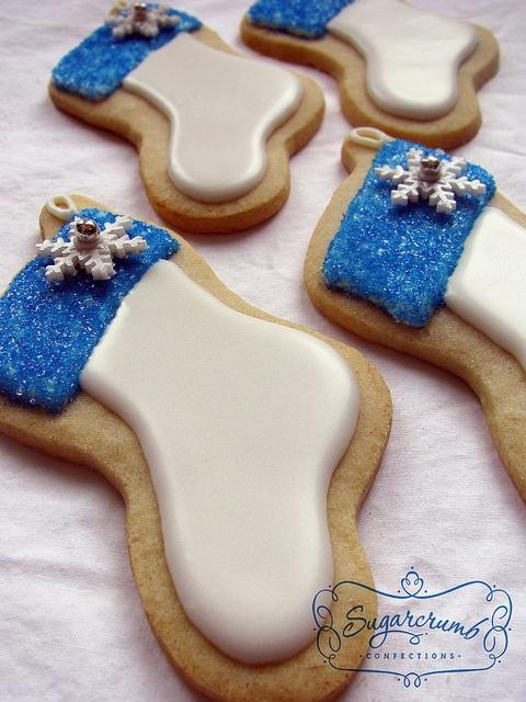 Sparkling Christmas Stocking Cookies