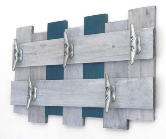 Beach Decor Towel Rack in Weathered Gray & by RusticForestStudio