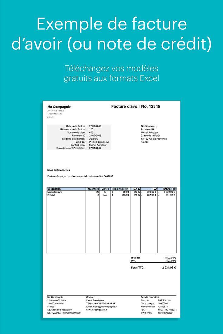 Exemple de facture d'avoir à télécharger gratuitement (With images) | Bar chart, Chart
