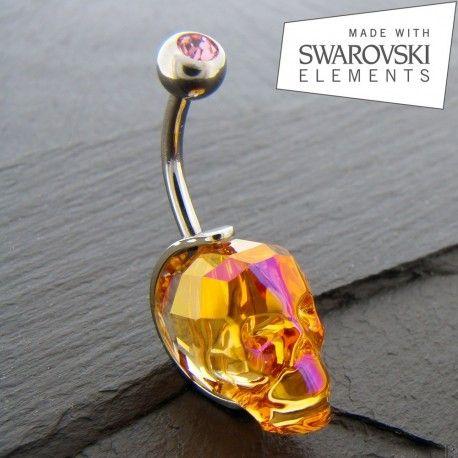 Piercing Nombril crâne de Cristal. http://piercing-pure.com/p/50-piercing-nombril-crane-de-cristal.html #crane #skull #piercing