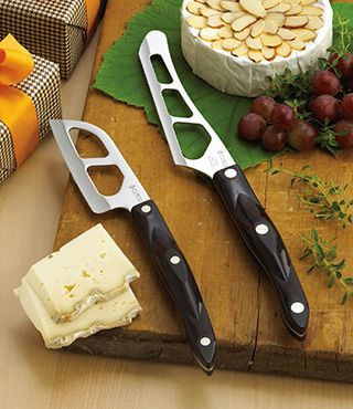Entertain with class. Our Traditional Cheese Knife teams up with the Santoku–Style Cheese Knife for a gift set that will be right at home on the cheese table at your next party. Both knives feature our unique Micro-D edge, which is designed to cut through a variety of cheese – hard or soft.