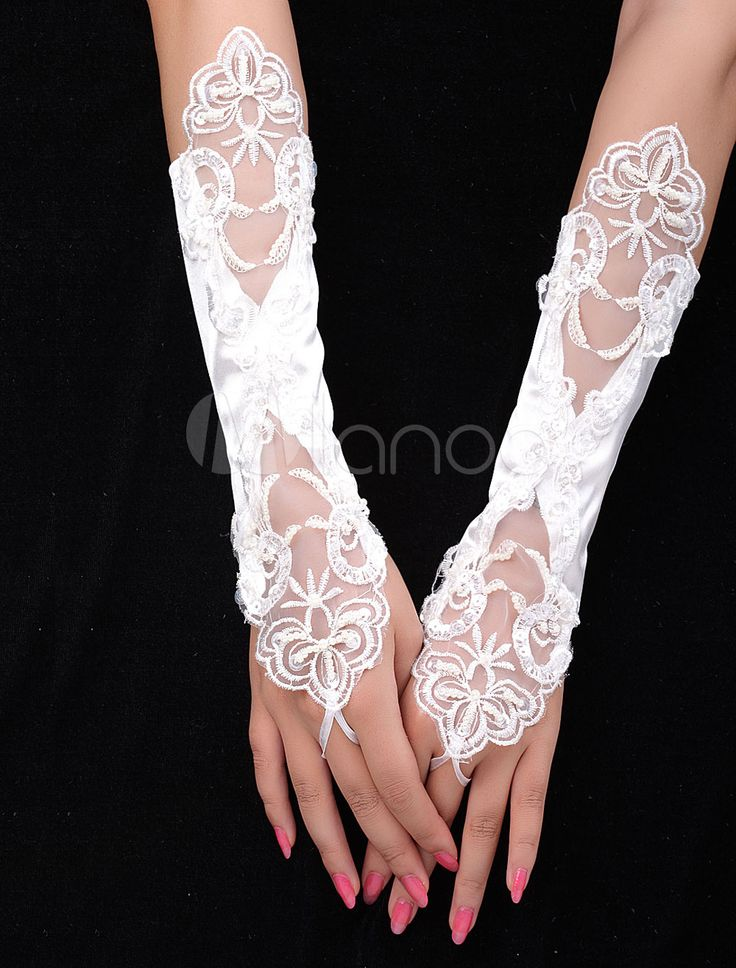 Lace flowers Ivory Satin Fingerless Bridal Gloves