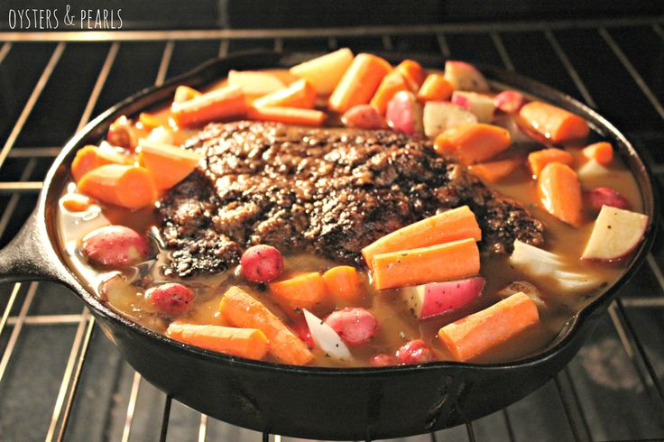 Pot Roast in the Oven.  Have a cast iron skillet so I was looking for new meals to make in it.