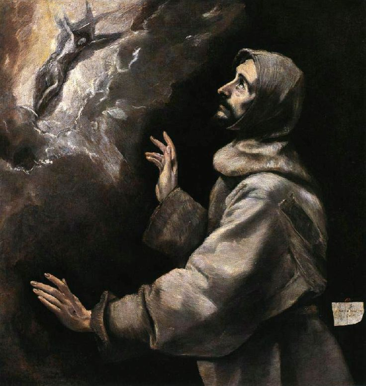"""El Greco: """"St. Francis receiving the stigmata"""",1590.(Walters Art Gallery,Baltimore,MD,USA.) http://thewalters.org/"""