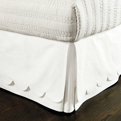 Scalloped Twill Bedskirt in queen size, super white twill, from Ballard Designs,  $139.